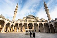 Muslims in courtyard of Suleymaniye Mosque in Istanbul, Republic of Turkey