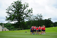 The Bath Rugby squad huddle together. Bath Rugby pre-season skills training on June 21, 2016 at Farleigh House in Bath, England. Photo by: Patrick Khachfe / Onside Images