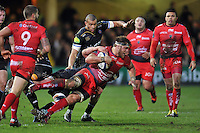 Duane Vermeulen of Toulon is tackled to ground. European Rugby Champions Cup match, between Bath Rugby and RC Toulon on January 23, 2016 at the Recreation Ground in Bath, England. Photo by: Patrick Khachfe / Onside Images