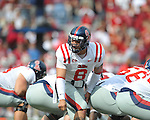 Ole Miss quarterback Jeremiah Masoli (8) against the Arkansas Razorbacks at Reynolds Razorback Stadium in Fayetteville, Ark. on Saturday, October 23, 2010.