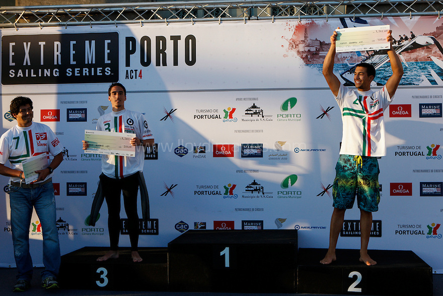 Act 4, Porto, Extreme Sailing Series. Day 04. Images on the final day of racing, showing Neil Pryde wind surfers at the presentation ceremony at the end of their event. Porto, Portugal. ..Credit: Lloyd Images