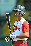 30 June 2012: Lowell Spinners' infielder Aneury Tavarez awaits his turn in the batting cage prior to a game against the Vermont Lake Monsters at Centennial Field in Burlington, Vermont. Mandatory Credit: Ed Wolfstein Photo