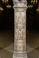 Detail of the carved base of the trumeau of the entrance to the upper chapel of La Sainte-Chapelle (The Holy Chapel), Paris, France. Sainte Chapelle was built 1239-48 to house King Louis IX's collection of Holy Relics. It is a UNESCO World Heritage Site. Picture by Manuel Cohen