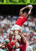 Josh Turnbull of Wales wins the ball at a lineout. Old Mutual Wealth Cup International match between England and Wales on May 29, 2016 at Twickenham Stadium in London, England. Photo by: Patrick Khachfe / Onside Images