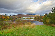 The village of Waterville Valley, New Hampshire during the autumn months. Mt Tecumseh is in the background.