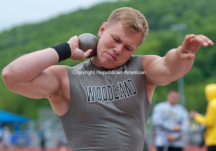 NAUGATUCK, CT-052814JS09--Woodland's Levi Fancher competes in the shot put during the NVL Track Championships Wednesday at Naugatuck High School<br /> Jim Shannon Republican-American