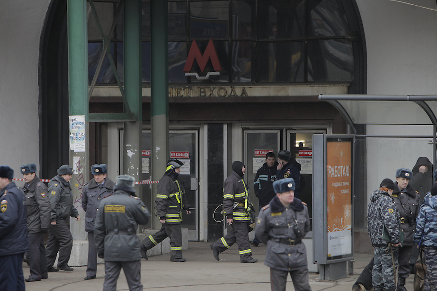 Moscow, Russia, 29/03/2010..Scenes outside Lubyanka metro station, where at least 24 people were killed in a morning rush hour suicide bombing. A second bomb exploded at Park Kultury metro station, killing at least another 14 people. Emergency services and police outside the metro station..