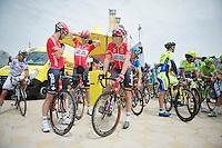 teammates/buddies Greg Henderson (NZL/Lotto-Belisol), Marcel Sieberg (DEU/Lotto-Belisol) &amp; Adam Hansen (AUS/Lotto-Belisol) relaxed at the start.<br /> Henderson would later that day crash and abandon the race.<br /> <br /> 2014 Tour de France<br /> stage 4: Le Touquet-Paris-Plage/Lille M&eacute;tropole (163km)