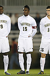 25 October 2013: Wake Forest's Jalen Robinson. The Duke University Blue Devils hosted the Wake Forest University Demon Deacons at Koskinen Stadium in Durham, NC in a 2013 NCAA Division I Men's Soccer match. The game ended in a 2-2 tie after two overtimes.