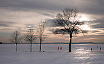 Ice fisherman on Lake Mendota in Madison, Wisconsin...