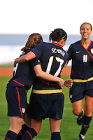 Meghan Schnur celebrates her goal with Heather O'Reilly, as Lauren Cheney looks on.  The USWNT defeated Iceland (2-0) at Vila Real Sto. Antonio in their opener of the 2010 Algarve Cup on February 24, 2010..