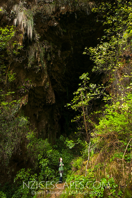Young woman in Punakaki limestone cave, Paparoa National Park, West Coast, Buller Region, New Zealand, NZ