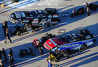 Jan. 20, 2012; Jupiter, FL, USA: Aerial view of the cars of NHRA funny car driver Bob Tasca III (bottom) and John Force during testing at the PRO Winter Warmup at Palm Beach International Raceway. Mandatory Credit: Mark J. Rebilas-