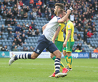 Preston North End's Tommy Spurr celebrates scoring his sides first goal <br /> <br /> Photographer Mick Walker/CameraSport<br /> <br /> The EFL Sky Bet Championship - Preston North End v Norwich City - Monday 17th April 2017 - Deepdale - Preston<br /> <br /> World Copyright &copy; 2017 CameraSport. All rights reserved. 43 Linden Ave. Countesthorpe. Leicester. England. LE8 5PG - Tel: +44 (0) 116 277 4147 - admin@camerasport.com - www.camerasport.com