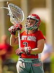 25 April 2009: Stony Brook University Seawolves' goalkeeper Mickey Cahill, a Junior from Bay Shore, NY, in action against the University of Vermont Catamounts at Moulton Winder Field in Burlington, Vermont. The Lady Cats defeated the visiting Seawolves 19-11 in Vermont's last home game of the 2009 season. Mandatory Photo Credit: Ed Wolfstein Photo