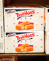 Boxes of tasty Twinkies by Hostess are seen on a supermarket shelf in this file photo. Interstate Bakeries, the maker of Twinkies as well as Wonder Bread and Drake's Cakes products, filed for bankruptcy on September 21, 2004 citing it's slowness to adapt to the Atkins craze and other trends in the bread business. Interstate is one of the world's largest manufacturers of baked goods with 32,000 employees and 54 bakeries. (© Frances M. Roberts)