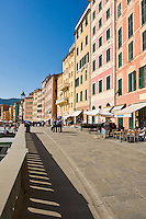 Coastal walkway and buildings, Camogli, Liguria, Italy