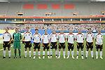 18 August 2008: Germany starting eleven.  (l to r): Birgit Prinz (GER), Nadine Angerer (GER), Kerstin Garefrekes (GER), Ariane Hingst (GER), Renate Lingor (GER), Simone Laudehr (GER), Melanie Behringer (GER), Babett Peter (GER), Kerstin Stegemann (GER), Annike Krahn (GER), Anja Mittag (GER).  The women's Olympic soccer team of Brazil defeated the women's Olympic soccer team of Germany 4-1 at Shanghai Stadium in Shanghai, China in a Semifinal match in the Women's Olympic Football competition.
