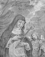 Detail of the frontispiece of the first edition of the life of St Agnes of Jesus, 1602-34, published 1665 by Monsieur de Lantages of the Sulpician Seminary of Le Puy en Velay, in the Monastere Sainte Catherine de Sienne, or Monastery of St Catherine of Siena, Langeac, Haute Loire, France. St Agnes of Jesus, or St Agnes of Langeac, founded the monastery in 1623, and was prioress from 1627. Picture by Manuel Cohen
