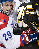 Derek Arnold (UML - 29) - The University of Massachusetts Lowell River Hawks defeated the visiting American International College Yellow Jackets 6-1 on Tuesday, December 3, 2013, at Tsongas Arena in Lowell, Massachusetts.