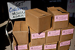 Boxes of petitions for Gov. Brown's initiative to temporarily raise income taxes on high earners and increase sales taxes for four years sit outside the Sacramento County Registrar of Voters in Sacramento, Calif., May 10, 2012.