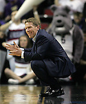 Gonzaga's Head Coach Mark Few raises his hands when a foul was called during their game against North Dakota State during the 2015 NCAA Division I Men's Basketball Championship's March 20, 2015 at the Key Arena in Seattle, Washington.     ©2015. Jim Bryant Photo. ALL RIGHTS RESERVED.