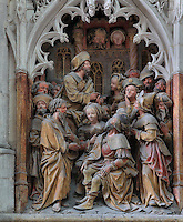 Philetus, sent by the magician  Hermogenes to argue with St James, listens to the apostle preach, from the series of the life of Saint James the Greater, 1511, high relief on the West side of the South transept in the Basilique Cathedrale Notre-Dame d'Amiens or Cathedral Basilica of Our Lady of Amiens, built 1220-70 in Gothic style, Amiens, Picardy, France. Amiens Cathedral was listed as a UNESCO World Heritage Site in 1981. Picture by Manuel Cohen