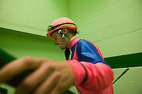 27 May 2006 - ELMONT, NY - 22 year-old French apprentice jockey Julien Leparoux climbs a staircase leading to the presentation circle before a race at Belmont Park hippodrome in Elmont, outside New York City, USA, 27 May 2006.
