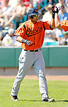 5 March 2006: Nick Markakis, outfielder for the Baltimore Orioles, celebrates a home run during a Spring Training game against the Washington Nationals. The Nationals defeated the Orioles 10-6 at Space Coast Stadium, in Viera Florida...Mandatory Photo Credit: Ed Wolfstein..