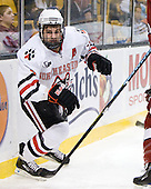 Chris Donovan (NU - 23) - The Northeastern University Huskies defeated the Harvard University Crimson 4-1 (EN) on Monday, February 8, 2010, at the TD Garden in Boston, Massachusetts, in the 2010 Beanpot consolation game.