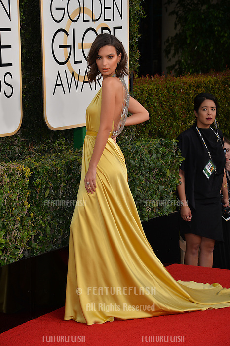 Emily Ratajkowski at the 74th Golden Globe Awards  at The Beverly Hilton Hotel, Los Angeles USA 8th January  2017<br /> Picture: Paul Smith/Featureflash/SilverHub 0208 004 5359 sales@silverhubmedia.com