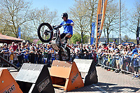 The On the Edge motorcyle stunt show in action. The Clash, Aviva Premiership match, between Bath Rugby and Leicester Tigers on April 8, 2017 at Twickenham Stadium in London, England. Photo by: Patrick Khachfe / Onside Images