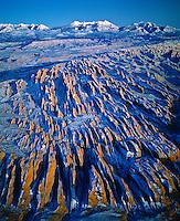Snow Covered Fins, Proposed Behind-the-Rocks  BLM Wilderness, Utah    La Sal Mountains beyoond