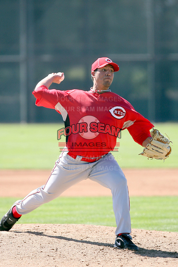 Pedro Villarreal, Cincinnati Reds 2010 minor league spring training..Photo by:  Bill Mitchell/Four Seam Images.