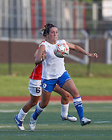 Boston Breakers forward Amanda DaCosta (5) bodies the ball forward. In a Women's Premier Soccer League Elite (WPSL) match, the Boston Breakers defeated Western New York Flash, 3-2, at Dilboy Stadium on May 26, 2012.