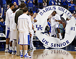 Darius Miller was honored during senior night at the University of Kentucky basketball game against the University of Georgia, at Rupp Arena, on March 1, 2012. Photo by Latara Appleby | Staff ..