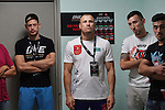 Fighters pre-fight briefing backstage. Centre  Igor Svirid, One middleweight world champion from Kazakstan<br />