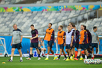 England manager Roy Hodgson leads his team out to train