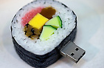 Replica food, this one a sushi roll that has been made into a USB memory stick, have become popular souvenir items with foreigners visiting Sato Food Sample Co. in Kappabashi, Tokyo, Japan on Nov. 10 2010. Photographer: Robert Gilhooly