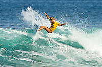 Alana Blanchard (HAW).  Haleiwa Hawaii, (Wednesday November 16, 2010) .In 26 years of Vans Triple Crown competition at Haleiwa, no-one can recall ever running three consecutive days, but that was the scenario today as a  rising swell poured in for the Women's Cholo's Hawaiian Pro  final. A crisp offshore breeze, clear skies and  smooth waves was the stage for the Cholo's Women's final won by defending Triple Crown Champion Stephanie Gilmore (AUS) with Tyler Wright (AUS) in 2nd, Alana Blanchard (HAW) in 3rd and Jacqueline Silva (BRA) in 4th place. All three place getters qualified for next years WCT Women's Tour..Photo: joliphotos.com