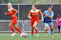 Piscataway, NJ - Saturday May 20, 2017: Rachel Daly, Janine Beckie, Samantha Kerr during a regular season National Women's Soccer League (NWSL) match between Sky Blue FC and the Houston Dash at Yurcak Field.  Sky Blue defeated Houston, 2-1.