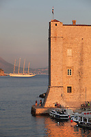 The Fortress of St John or Mulo Tower, 14th century, protecting the harbour within the medieval walled city, Dubrovnik, Croatia. The city developed as an important port in the 15th and 16th centuries and has had a multicultural history, allied to the Romans, Ostrogoths, Byzantines, Ancona, Hungary and the Ottomans. In 1979 the city was listed as a UNESCO World Heritage Site. Picture by Manuel Cohen