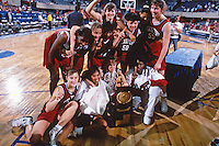 5 April 1992: Val Whiting, Kate Paye, Angela Taylor, Ann Adkins, Rachel Hemmer, Kelly Dougherty, Anita Kaplan, Christy Hedgpeth, Molly Goodenbour and Bobbie Kelsey with the trophy after Stanford's 78-62 win over Western Kentucky in the NCAA Division 1 Women's Basketball Championship in Los Angeles, CA.