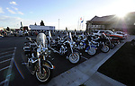 RAPID CITY, SOUTH DAKOTA - AUGUST 2010:  Motorcycles fill a motel parking lot at sunrise during the 70th annual Sturgis Motorcycle Rally held in the Black Hills.  The attendance estimates were placed between 500, 000 and 700,000 bikers.