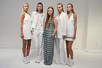 Fashion designer Stacey Clark, poses with model at the Odilon Spring 2012 collection presentation, during New York Fashion Spring 2012, on September 7, 2012.