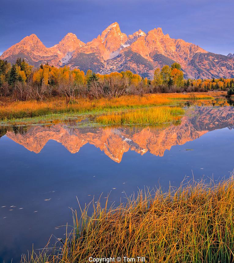 Teton Range Reflected in Snake River, Grand Teton National Park, Wyoming  Rocky Mountains    Sunrise
