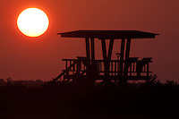 Sun Sets Behind Observation Platform, Merritt Island National Wildlife Refuge, Titusville, Florida, US