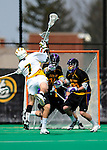 10 April 2011: University of Vermont Catamount attacker Geoff Worley, a Junior from Coronado, CA, takes a shot on net during game action against the University at Albany Great Danes on Moulton Winder Field in Burlington, Vermont. The Catamounts defeated the visiting Danes 11-6 in America East play. Mandatory Credit: Ed Wolfstein Photo