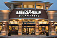 A dusk shot of the Barnes & Noble store at the Cherry Vale shopping center outside of Rockford, IL managed by CBL & Assoc. Properties,