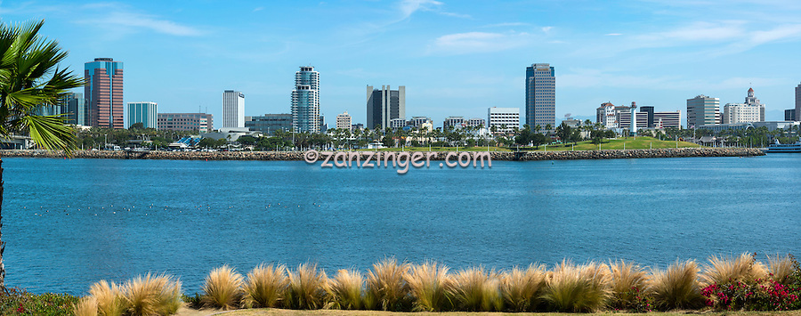 Long Beach, CA, City, Cityscape, Skyline, Architectural, Office Buildings, Daytime, Rainbow Harbor, <br />  Southern California, USA,